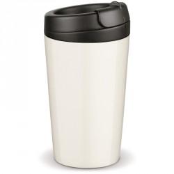 Mug en porcelaine coffee to go avec couvercle en plastique dur, de la série Flavour, designed by Toppoint. Il est très aisé de b
