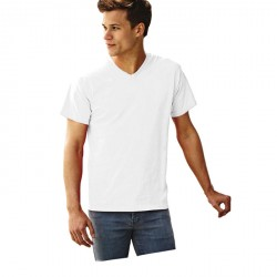 T-shirt col en V Fruit of the Loom Blanc 61-066-0