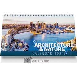 Calendrier Chevalet, 3 mois de bureau,Architecture & Nature
