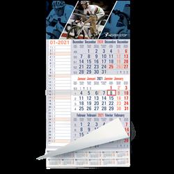 calendrier 3 Mois bleu Memo Plan